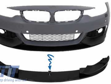 Front Bumper Spoiler Lip suitable for BMW 4 Series F32 F33 F36 Coupe Cabrio Grand Coupe (2013-03.2019) M-Performance Piano Black