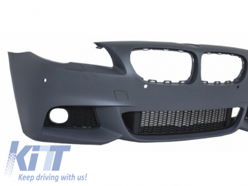 Front Bumper suitable for BMW F10 F11 5 Series (2011-2017) with Extension Lip and Side Skirts M-Performance Design