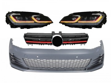 Front Bumper suitable for VW Golf VII 7 5G (2013-2017) with LED Headlights G7.5 GTI Look with Sequential Dynamic Turning Lights