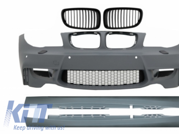 Front Bumper with Side Skirts suitable for BMW 1 Series E87 (2004-2011) 1M Design With Air Duct Vent