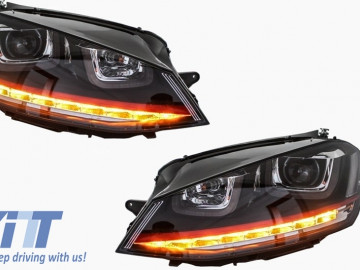 Headlights 3D LED DRL suitable for VW Golf 7 VII (2012-2017) RED R20 GTI Look LED FLOWING with Central Grille R-Line