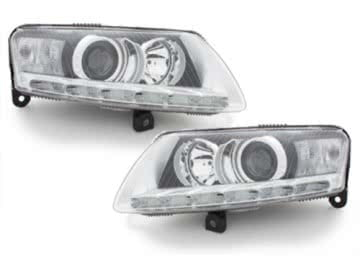 Headlights LED DRL suitable for AUDI A6 4F 04-09 DAYTIME RUNNING LIGHT HID Chrome