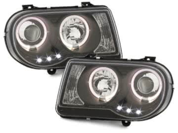 Headlights suitable for CHRYSLER 300C 2004-2008 Angel Eyes 2 Halo Rims Black