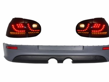 Rear Bumper Extension with Taillights LED Smoke Black suitable for VW Golf 5 V (2003-2007) R32 Look