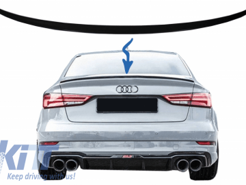 Trunk Spoiler suitable for Audi A3 8V Sedan (2013-Up) Piano Black